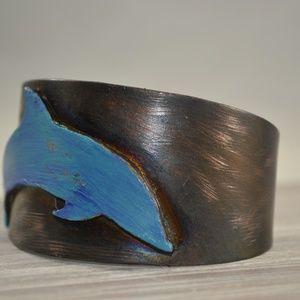 TwistedVagabondDesigns Jewelry - TVD Copper Electroformed Dolphin Cuff Bracelet